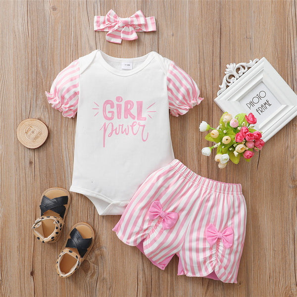 Baby Girls Power Striped Short Sleeve Romper & Bow Shorts & Headband Baby Clothes Wholesale Bulk