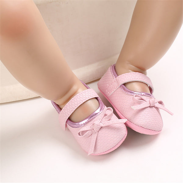 Baby Princess Bow Solid Magic Tape Flats Wholesale Infant Shoes