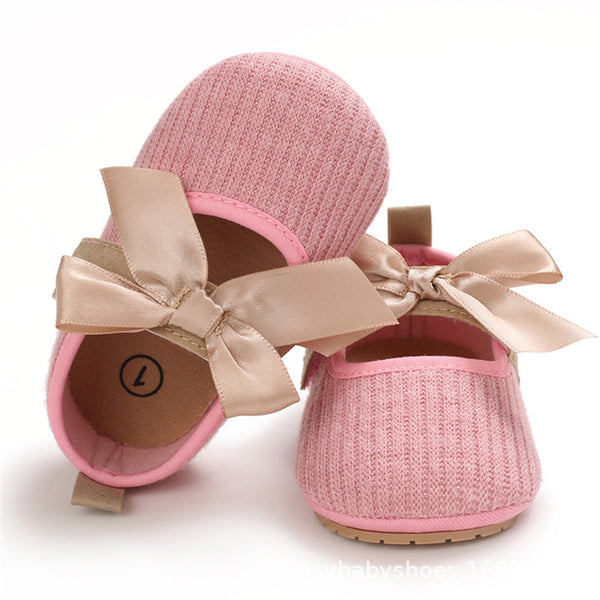 Baby Princess Magic Tape Bow Decor Non-Slip Shoes Baby Shoe Wholesale