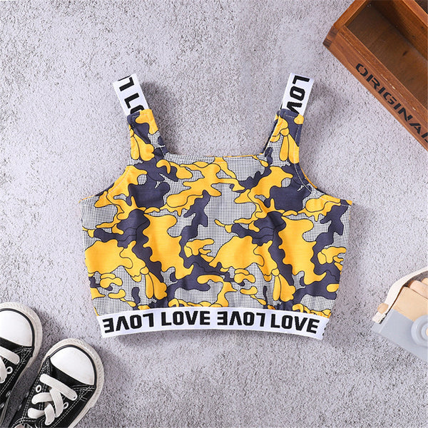 Girls Printed Letter Love Sling Top wholesale childrens clothing online