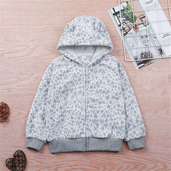 Unisex Printed Long Sleeve Hooded Casual Jackets Kids Wholesale Clothing