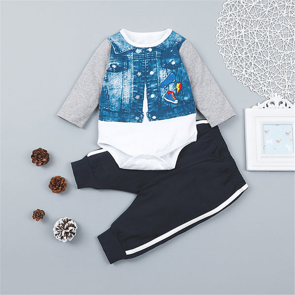 Baby Boys Printed Long Sleeve Stitching Romper & Pants Baby Wholesale