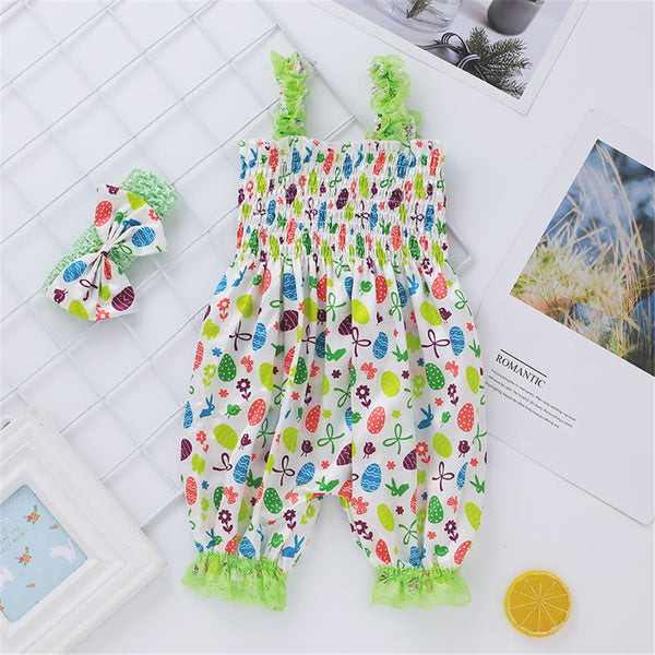 Baby Girls Printed Pattern Suspender Romper & Headband Wholesale Baby Clothes