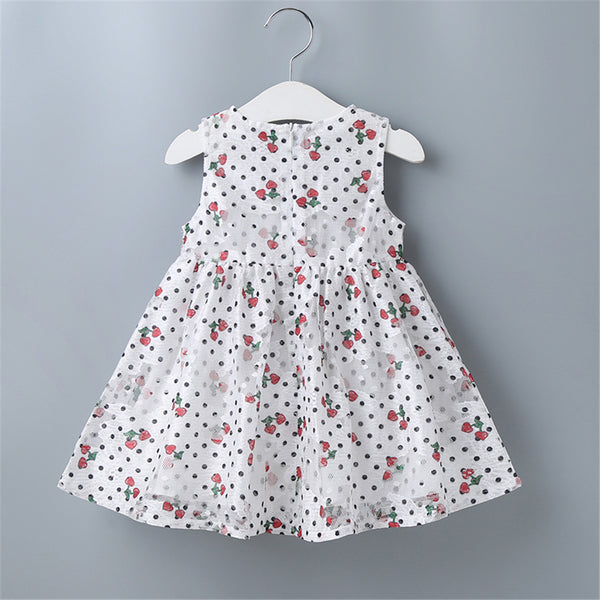 Baby Girls Printed Polka Dot Bow Decor Sleeveless Dress Baby Clothes Wholesale Bulk