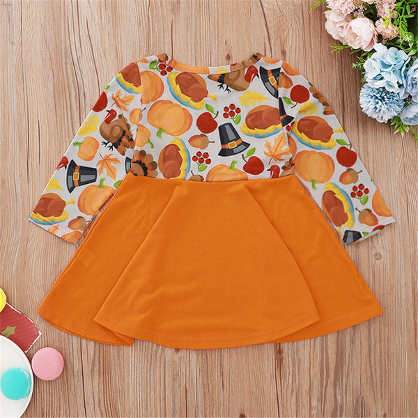Girls Printed Pumpkin Long Sleeve Dress Girls Wholesale Clothing