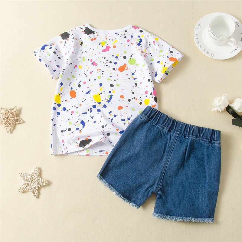 Girls Printed Short Sleeve Crew Neck Top & Ripped Denim Shorts Childrens Wholesale Suppliers