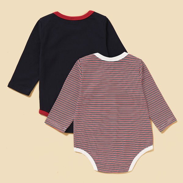 Baby Girls 2PCS Print Stripe Long Sleeve Romper Baby Clothes Wholesale Bulk