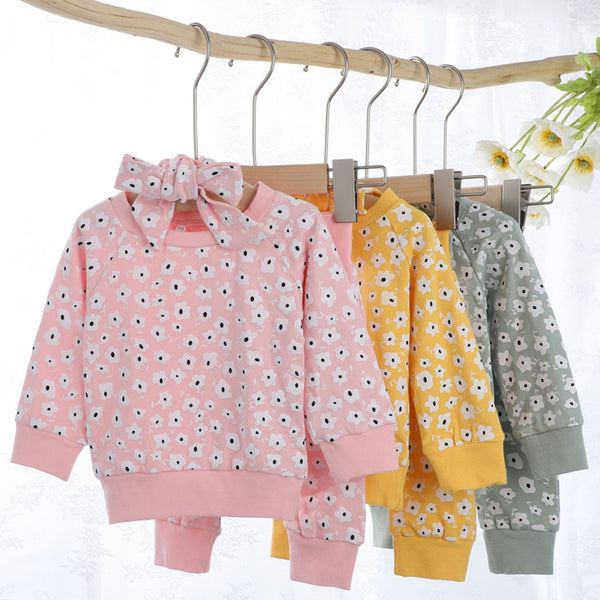 Baby Girls Printed Top & Pants & Headband Wholesale Baby Outfits