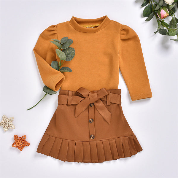 Girls Puff Sleeve Crew Neck Top & Skirt Toddler Girls Wholesale