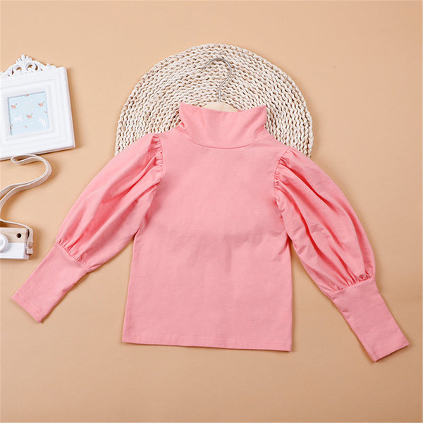 Girls Puff Sleeve Solid Color Casual Top Girl T Shirts Wholesale
