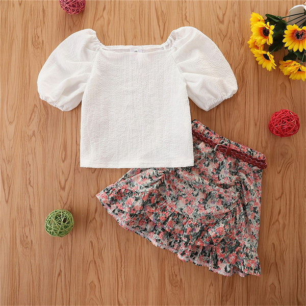 Girls Puff Sleeve Top & Floral Skirt kids wholesale clothing