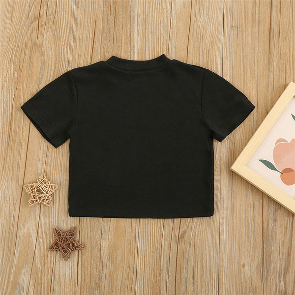 Girls Pullover Short Sleeve Solid Top Wholesale Toddler T Shirts