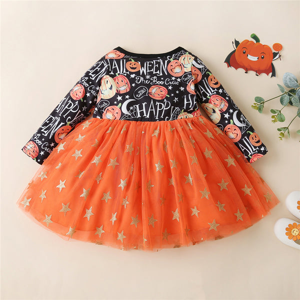 Girls Pumpkin Printed Star Tulle Dress Wholesale Boutique Girl Clothing