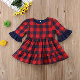 Toddler Girl Ruffle Cuffed Plaid Dress