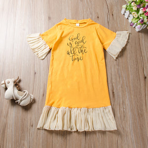 Fashionable Girls Short Sleeve Mesh Skirt Letter Print Princess Skirt