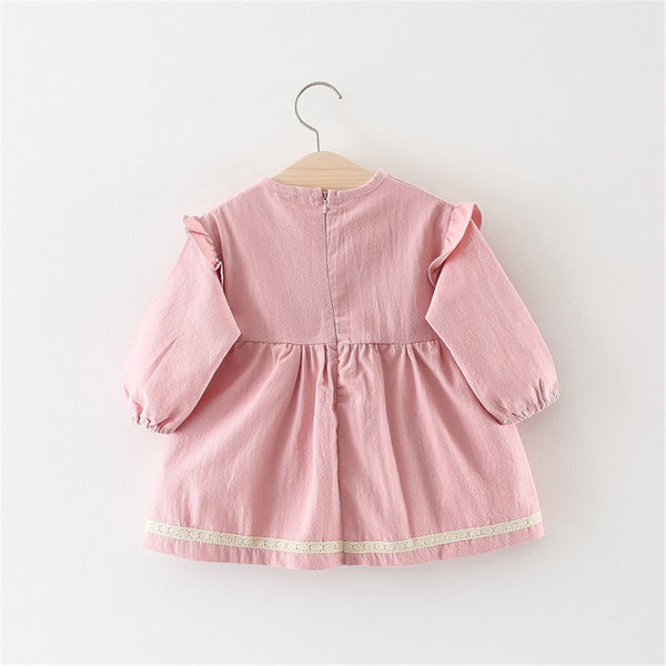 Baby Girls Rabbit Bow Decor Long Sleeve Dress Baby Wholesale Suppliers