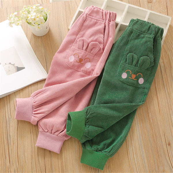 Toddler Girls Rabbit Corduroy Solid Trousers Girls Wholesale Clothes