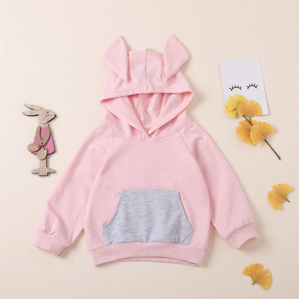 Girls Rabbit Ear Hooded Long Sleeve Top Kids Boutique Clothing Cheap