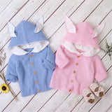 Baby Rabbit Ear Hooded Long Sleeve Warm Cute Sweaters