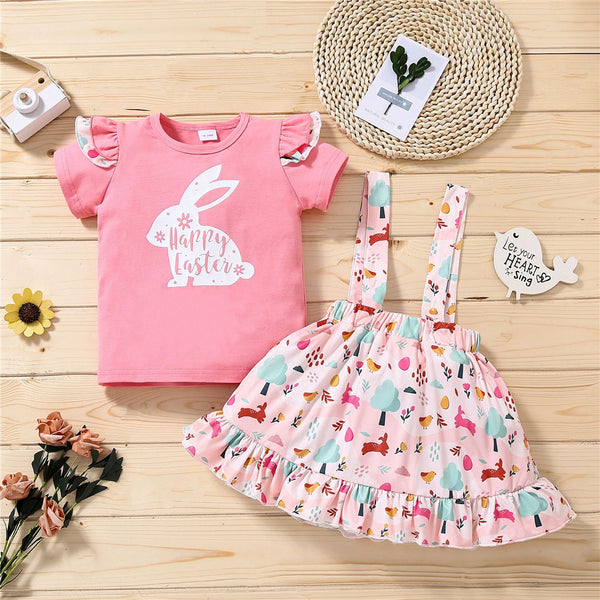 Girls Rabbit Happy Easter Printed Short Sleeve Top & Candy Suspender Skirt Wholesale Children'S Boutique Clothing Suppliers China