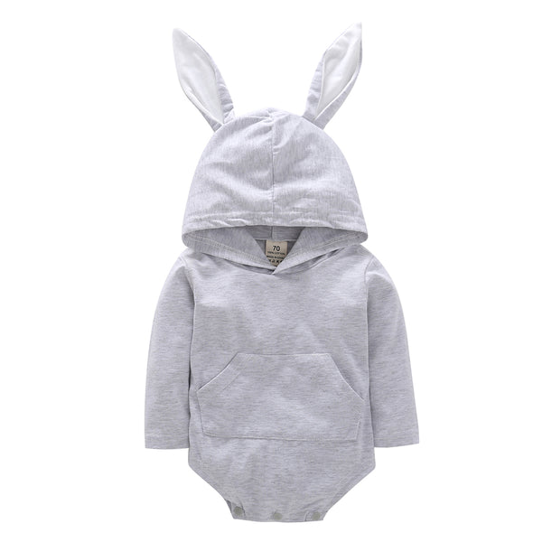 Baby Unisex Rabbit Hooded Solid Romper Baby Clothes Cheap Wholesale