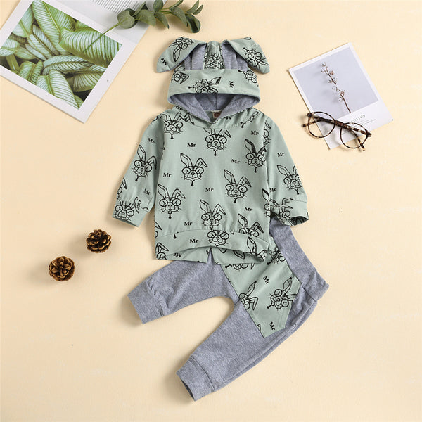 Baby Unisex Rabbit Hooded Top & Pants Cheap Boutique Baby Clothes