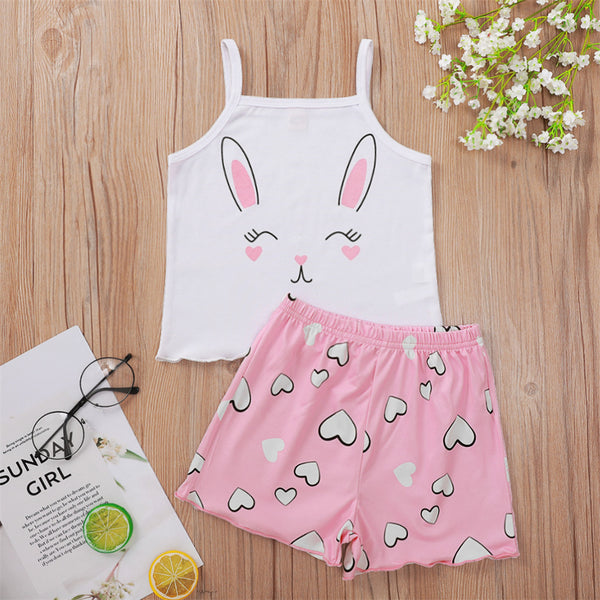 Girls Rabbit Kitty Letter Printed Sling Top & Shorts toddler girl clothes boutique