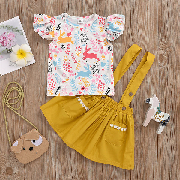 Girls Rabbit Leaf Printed Short Sleeve Top & Suspender Skirt Wholesale Little Girls Clothes