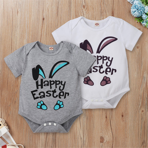 Baby Girls Rabbit Letter Printed Short Sleeve Romper Baby Clothes Wholesale Bulk