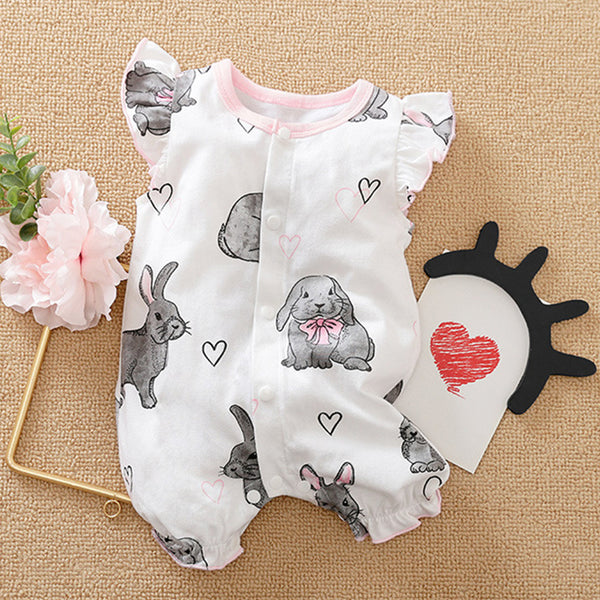 Baby Girls Rabbit Printed Flying Sleeve Romper wholesale baby clothes