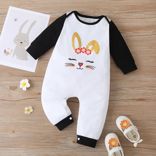 Baby Girls Rabbit Printed Long Sleeve Color Block Romper baby wholesale