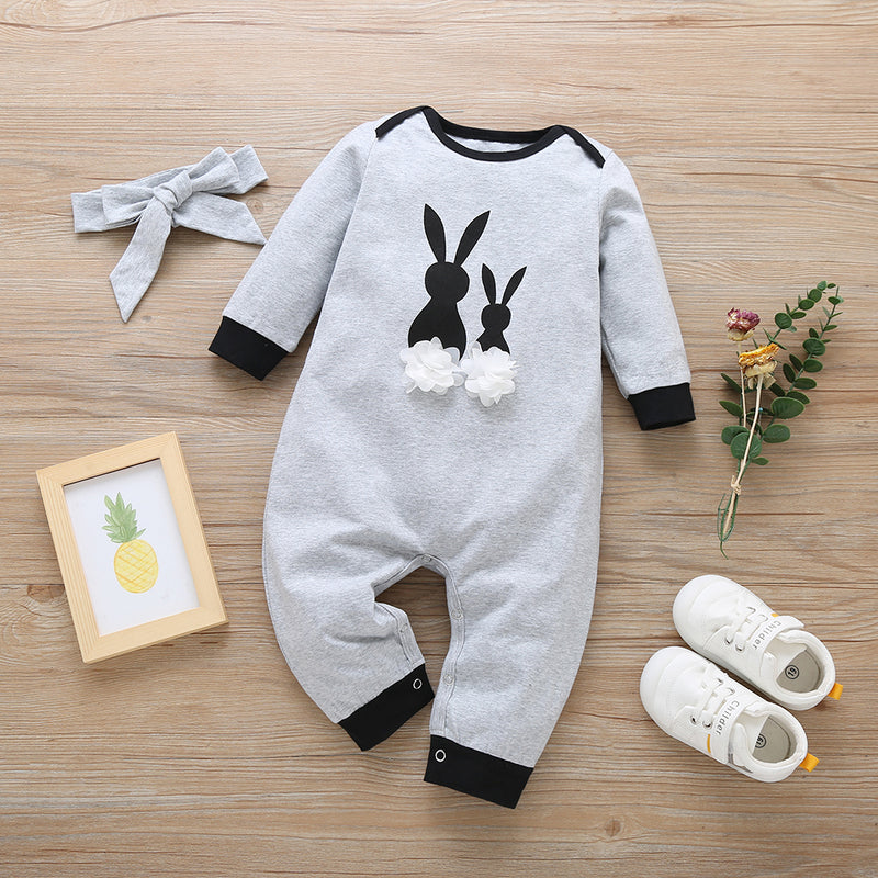 Baby Girls Rabbit Printed Long Sleeve Sweet Romper & Headband