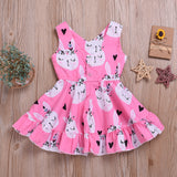 Girls Rabbit Printed Sleeveless Princess Dress Wholesale Little Girl Boutique Clothing