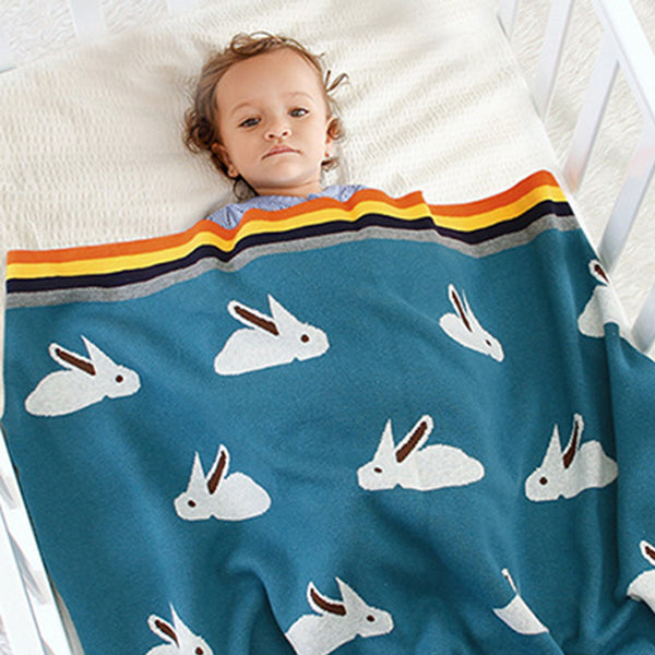 Baby Rainbow Edge Rabbit knitted Wholesale Baby Blanket