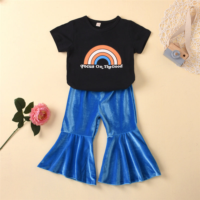 Girls Rainbow Letter Printed Short Sleeve Top & Flared Trousers Girls Clothes Wholesale