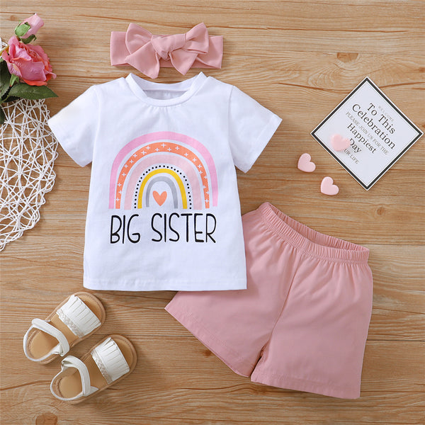 Girls Rainbow Letter Printed Short Sleeve Top & Shorts & Headband children wholesale clothing