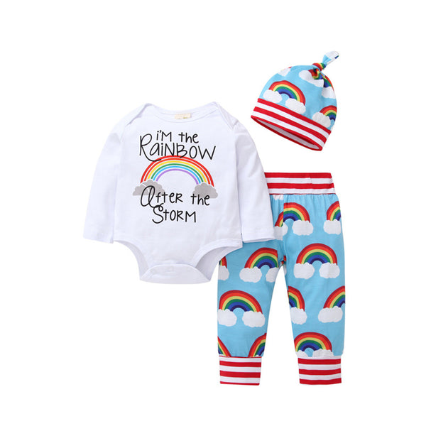 Baby Boys Rainbow Long Sleeve Romper & Bottoms & Hat Baby Wholesales