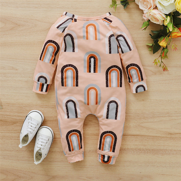 Baby Rainbow Long Sleeve Tie-up Romper Baby Wholesale Clothing