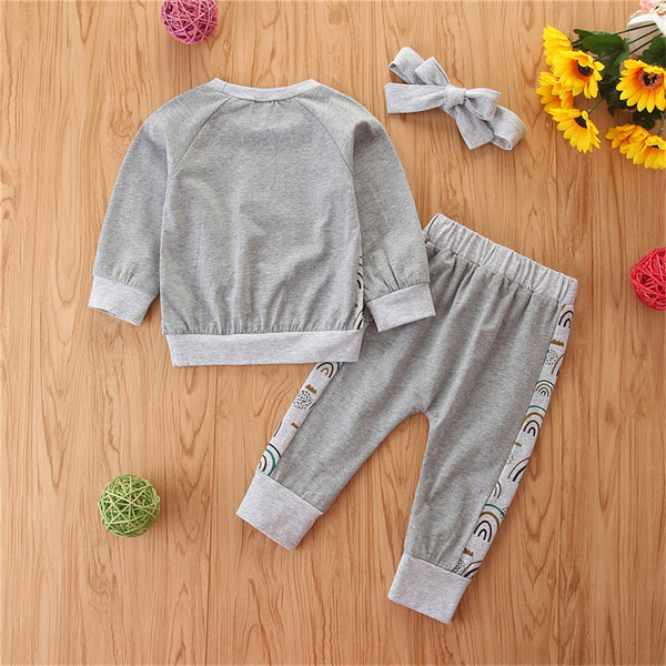 Baby Girls Rainbow Long Sleeve Tops & Pants Wholesale Clothes For Kids