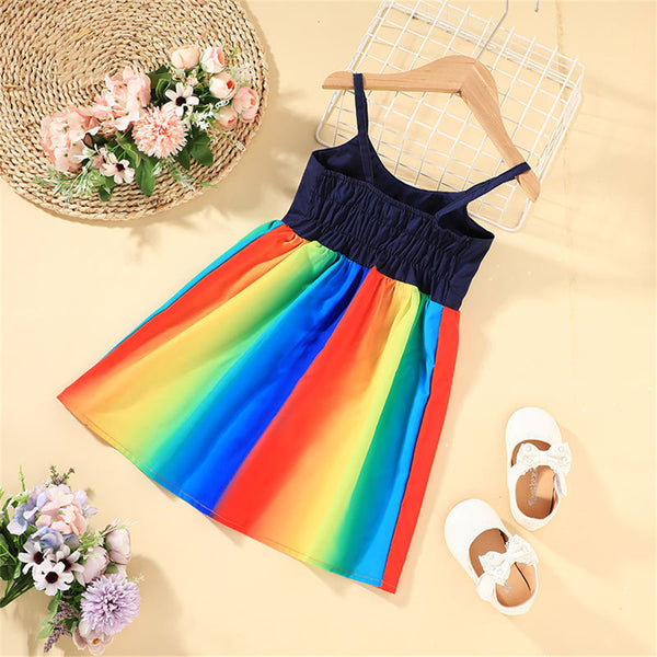 Girls Rainbow Pleated Suspender Dress girls boutique clothing