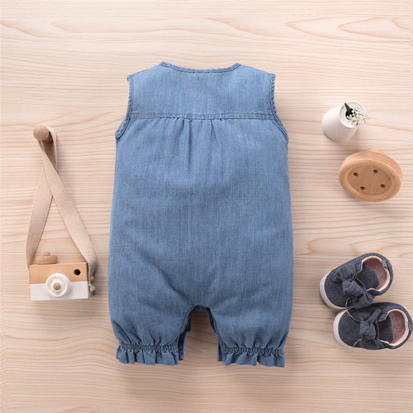 Baby Unisex Rainbow Pocket Sleeveless Button Romper Baby Wholesale