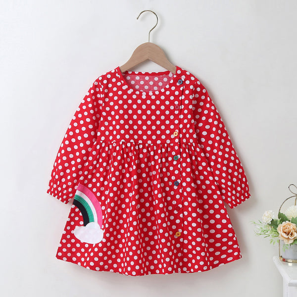 Girls Rainbow Polka Dot Color Button Long Sleeve Dress Girls Clothing Wholesalers