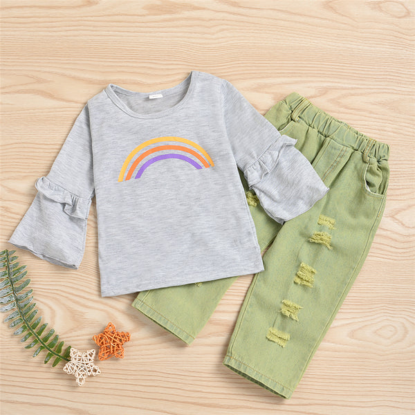 Girls Rainbow Print Long Sleeve Top & Ripped Jeans Toddler Girls Wholesale