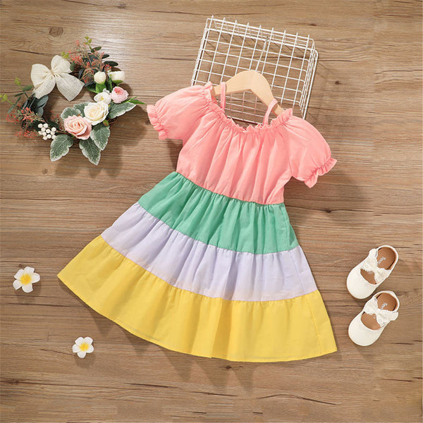 Girls Rainbow Short Sleeve Color Block Dress kids clothes wholesale