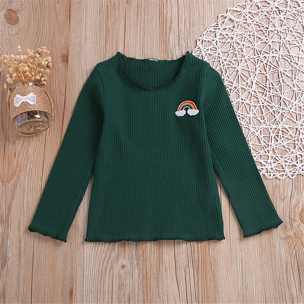 Toddler Gilrs Rainbow Solid Long Sleeve T-shirt Wholesale Girls Clothes