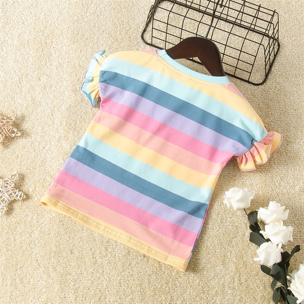 Girls Rainbow Striped Short Sleeve Cartoon Top Wholesale Girls Clothing