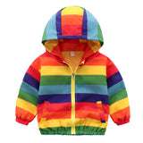 Boys Rainbow Striped Zipper Hooded Jacket Childrens Wholesale Clothing