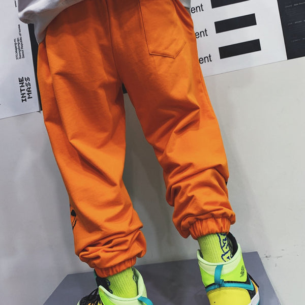 Rap Boys Orange Letter Printed Causal Pants Boys Wholesale
