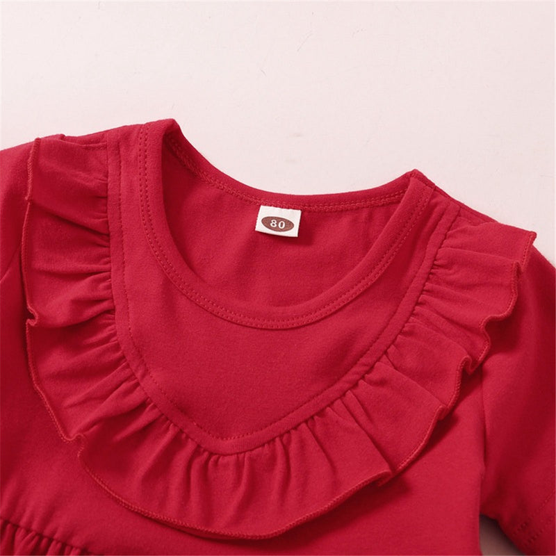 Baby Girls Red Short Sleeve Dresses Wholesale Baby Clothes