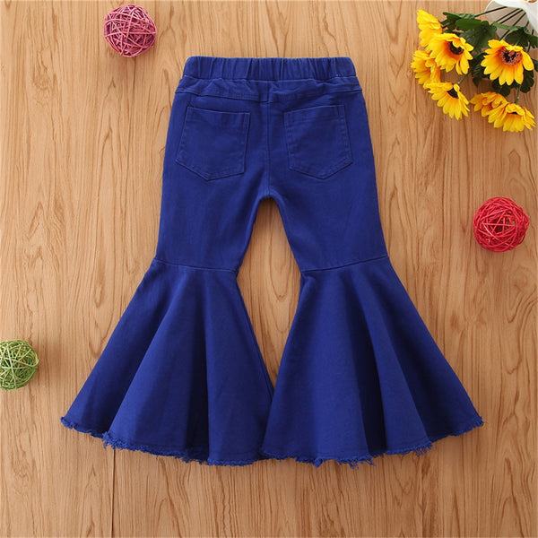 Girls Ripped Flared Blue Denim Trousers Girl Boutique Clothing Wholesale